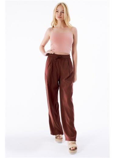 Pattaya Pattaya Kadın Yüksek Bel Bol Paça Pantolon P21S201-0750 Kahve